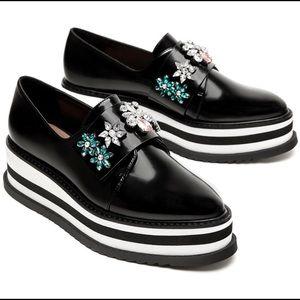 Zara bejeweled platform shoes